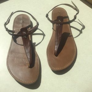 Womens Loft T-bar thong Brown leather sandals